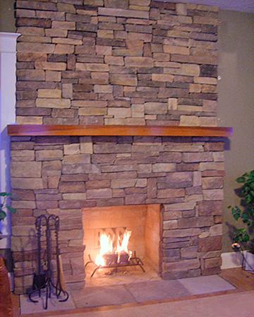 wood masonry fireplace