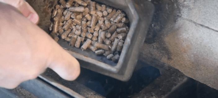wood pellets inside burn pot